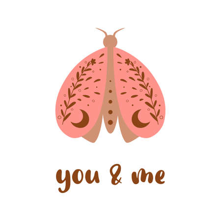Valentines Day pink butterfly, heart shape. Text You and me romantic isolated element. Bohemian greeting card. Pink poster for 14 february. Decorative love element. 向量圖像
