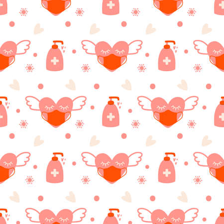 Covid Valentines day seamless pattern. Pink heart in face mask, coronavirus protection, virus sanitizer virtual love background.