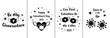 Covid Valentines card set. 2021 love funny banners. Black face mask heart in medical face mask. Be my quarantine phrase. Coronavirus Happy Valentines Day greeting card, quotes. Funny illustration. Foto de archivo