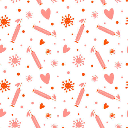 Covid Valentines day seamless pattern. Pink heart, coronavirus protection, virus symbol vaccine, social distance relationship, love background.