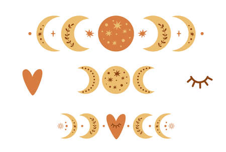 Boho moon phase set. Boho moon symbol. Cute love moon elements. Celestial Valentines day icons. Heart shape eyes. Planet isolated. Astronomy lovely clipart Romantic celestial baby illustration.