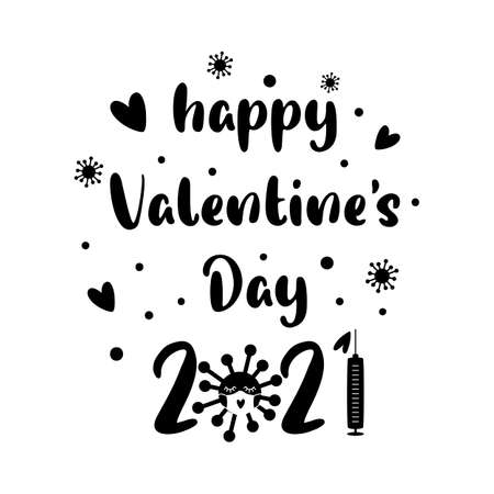 Covid Valentines day 2021. Quarantine, coronavirus symbol in face mask, vaccine syringe. Black isolated 2021 year of love concept. Funny illustration 14 february graphic element. Happy valentines day