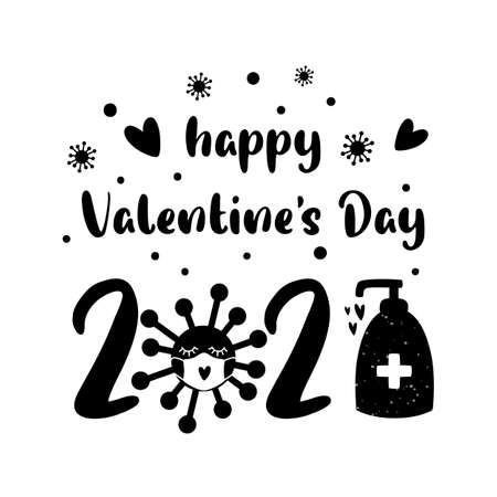 Covid Valentines day 2021. Quarantine, coronavirus in face mask, sanitizer. Black isolated 2021 year of love concept. Funny love illustration. 14 february graphic element. Happy Valentines day.