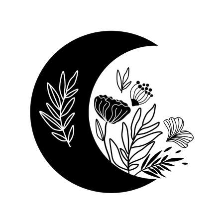 Floral moon.  Celestial crescent isolated. Hand drawing moon with flowers and leaves. Boho element, tribal moon shape graphic design. Ramadan symbol. Vectores