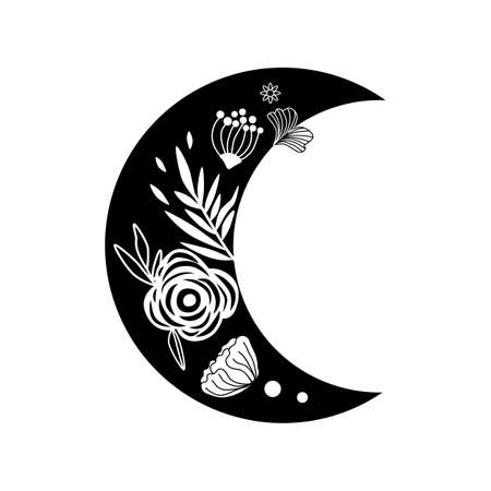 Floral moon. Beauty black moon tattoo. Celestial crescent isolated. Hand drawing moon with flowers and leaves.  Ramadan symbol. Vector illustration.