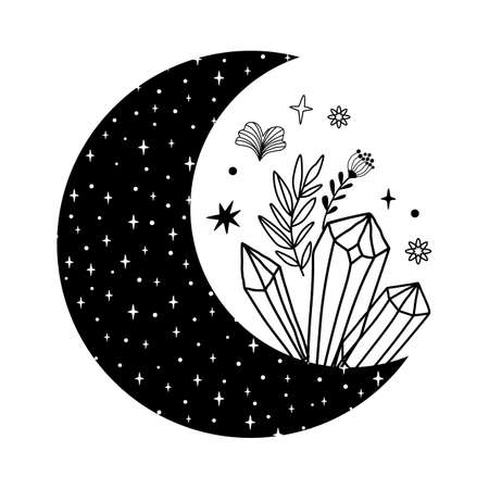 Floral moon with crystals. Beauty black moon tattoo. Celestial crescent isolated. Hand drawing moon shape, stars, flowers, leaves. Boho element, tribal moon isolated. Vectores