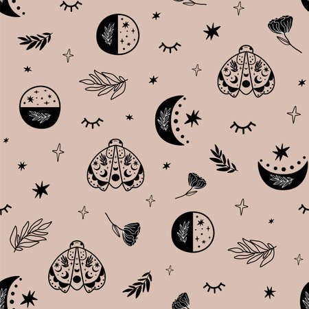 Hipster moon. Boho moon phase pattern. Seamless background. Black graphic moon print, celestial moth, herb, stars, eyes. Sky bohemian floral moon pattern. Tribal crescent. Vector illustration
