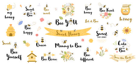 Be happy quote. Funny bee quotes phrases set with honey flowers bee heart slogans word honey valentines Illusztráció