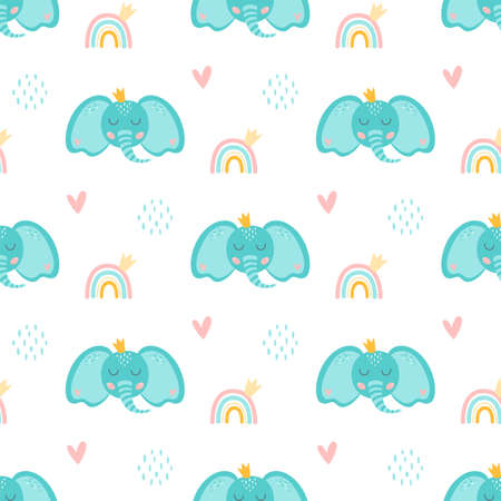 Baby elephant pattern. Sweet elephant patterns Cartoon blue elephant head with crown, rainbow, cute animal.