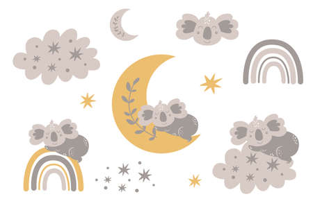 Cute baby koala sleeping on the moon clipart collection Grey kids moon, baby animal, cloud rainbow, stars