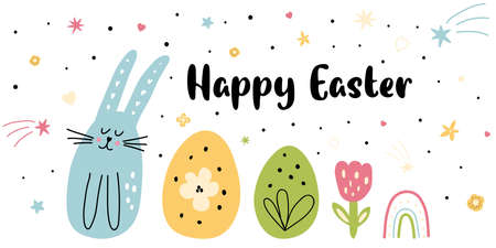 Happy Easter bunny banner Spring flowers eggs rabbit baby rainbow. Cute cartoon kids easter card.