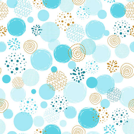 Boys blue dotted seamless pattern Polka dot abstract background blue gold circle shapes Vector