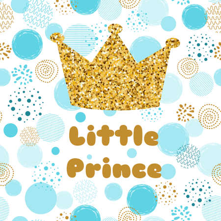 Little prince Baby shower card template. Boy blue invitation design for baby shower party. Gold crown.