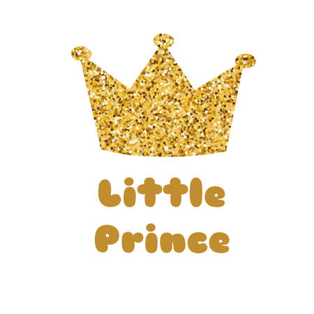 Little prince phrase isolated on white. Baby shower card element. Boy invitation with gold glitter crown