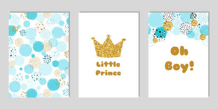 Little prince Baby shower card template set. Oh Boy blue invitation design for baby shower party. Gold crown.