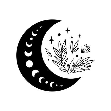 Floral moon logo. Moon phase flowers. Black moon icon. Celestial crescent isolated element. Hand drawing