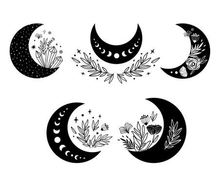 Floral moon clipart. Moon phase and flowers set. Black moon icon. Celestial crescent isolated elements. Hand drawing crescent flower. Witch boho moon shape design. Ramadan symbol. Cute illustration.