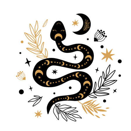 Floral snake vector. Mystic selestial serpent wildflowers, leaves, moon. Halloween boho element. Floral botanical design. Rustic serepent symbol. Gold, black snake. Reptile drawing illustration.