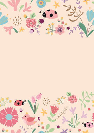 Spring floral banner frame. Hand drawn pink flowers. Spring template, tulips, insect. Vector illustration. Cute pink spring, summer nature background, cards. Illusztráció