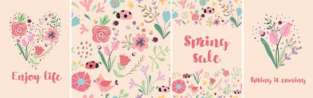 Spring floral banner set. Hand drawn pink flowers. Spring sale template, tulips, insect. Meadow illustration. Cute pink spring, summer nature background, cards.