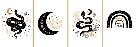 Mystic cards set. Mystical boho floral moon, animal, moon serpent, rainbow. Celestial elements collection.  Black gold colors. Alchemy cards Floral snake Rustic vector illustration. Illusztráció