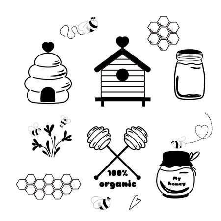 Bees set honey clipart sketch Hand drawn bee honey elements Hive honeycomb pot beekeeping set