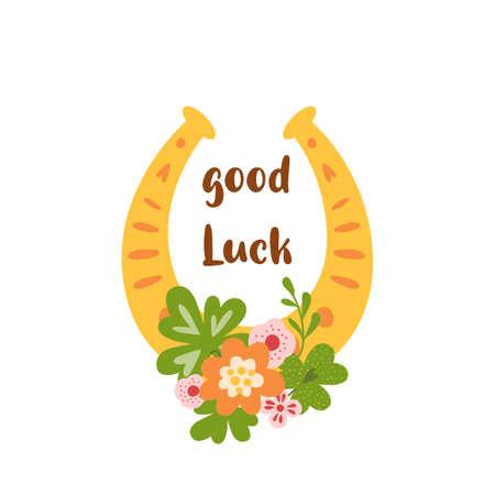 Fortune symbol Good luck horseshoe amulet, clover leaf, flower, decorative lucky element isolated