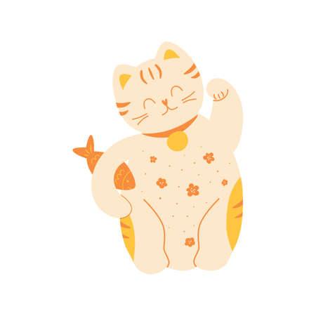 Fortune cat. China cat Maneki. Cute Japanese Lucky Cat Maneki Neko with fush. Fortune symbol. Icon isolated