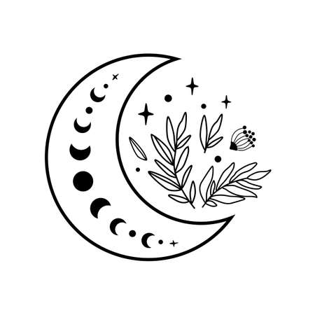 Flower moon logo. Moon phase flowers. Black moon icon. Celestial crescent isolated vector. Hand drawing