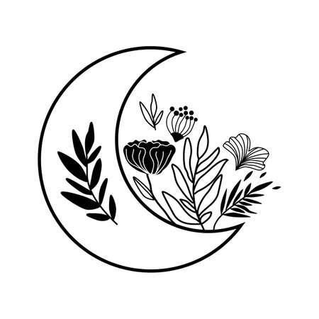 Flower moon logo. Beauty black moon tattoo design. Celestial crescent isolated Astrology girl symbol.