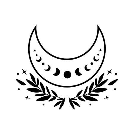 Flower moon phase symbol. Beauty black moon tattoo design. Celestial crescent isolated Astrology girl crescent. 일러스트