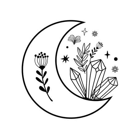 Floral moon sulhouette. Beauty black moon tattoo. Celestial crescent with crystals. Hand drawing female element 스톡 콘텐츠
