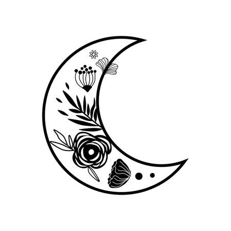 Flower moon logo. Beauty black moon tattoo. Celestial crescent isolated Hand drawing sky element 스톡 콘텐츠