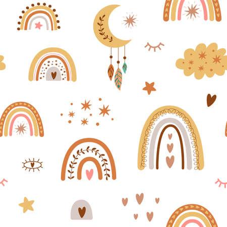 Rainbow pattern. Children boho rainbow pattern, pastel rainbows, moon. Baby nursery background