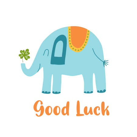 Fortune symbol Good luck baby elephant with clover leaf, flower, decorative lucky element isolated