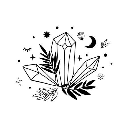 Crystal moon drawing. Cute astrology crystals, stars leaves. Mystical tshirt print. Magic celestial black isolated element.