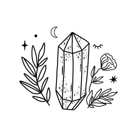 Crystal tattoo Hand drawn line art crystals leaf flower Simple graphic gems, isolated celestial element. Black magic fairytale illustration.