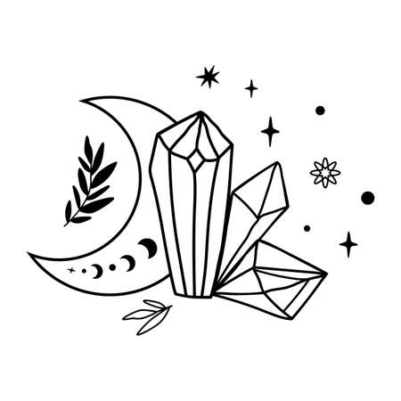 Crystal moon tattoo drawing. Cute magic celestial crystals, stars leaves. Mystical moon phase graphic element.