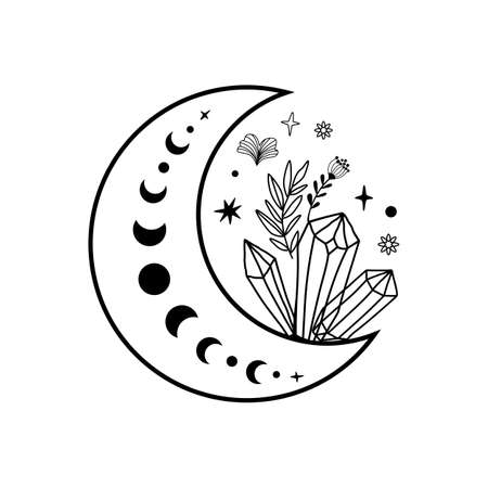 Crystal moon phase crystal flowers tattoo. Magic celestial coloring page. Mystical moon phase graphic element.
