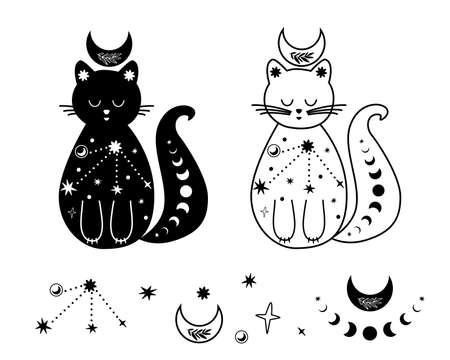 Moon cat set. Black and white celestial cat, stars. Magic domestic animal. Celestial kitty Vector tattoo 일러스트
