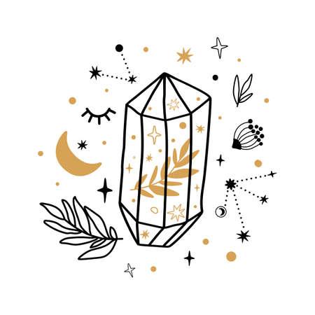 Celestial symbols, crystal sketch. Hand drawn line art crystal, botany leaf, moon, stars, leaves inside gems. Scared floral gems isolated graphic element. Mystical crescent print. Vector illustration.