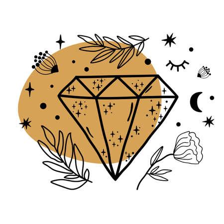 Celestial symbols, crystal sketch. Hand drawn line art crystal, botany leaf, moon, star, leaves inside gems. Scared floral gems isolated graphic element. Mystical crescent print. Diamond illustration. 스톡 콘텐츠
