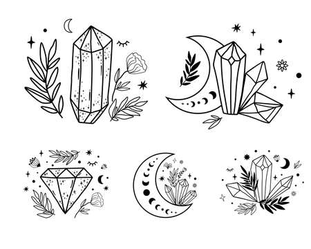 Celestial set. Moon crystal set. Cute magic celestial crystals, stars, flowers, leaves. Mystical moon boho graphic element, collection. Mystical print. Hand drawn moon isolated vector illustration.