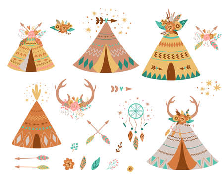 Teepee tents and arrows collection. Native american teepee set, flowers, horns, dreamcather hipster. Kids wigwam tent. Cute summer adventure graphic element isolated. Indian tents Boho illustration.