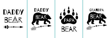 Papa Bear cards set. Fathers day posters collection. Dad bear animal. Wildlife animal shape, arrow, forest, bear paw. Hand drawn prints. Vector illustration.