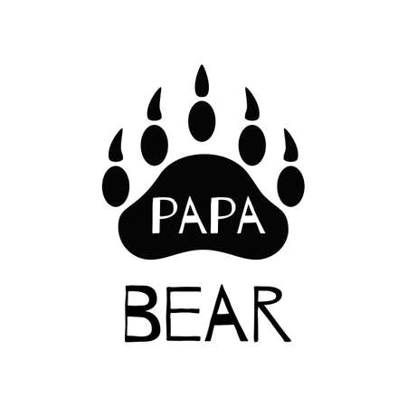 PaPa bear black paw symbol. Simple forest logo with text. Bear paw silhouette. Wild icon. Fathers day card, Kids nursery wall art poster, fabric decor, print. Vector illustration for mothers day