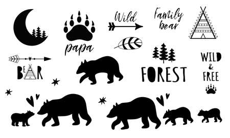 Bear Family set. Forest Papa, Mama bear, Sister Baby bear black shapes. Cute bear prints. Pharses with paw. Cute wildlife animals great for mothers, fathers day graphic elements. Vector illustration.