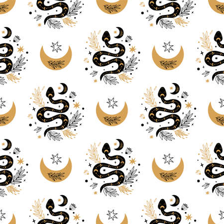 Serpent pattern. Floral snake moon seamless pattern. Mystic celestial serpent background. Botanical snake texture