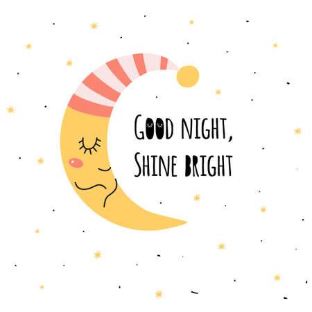 Baby sleepy moon. Cute sleeping moon. Kids sweet dreams print. Crescent isolated graphic element.
