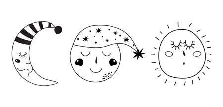 Kids moon Baby moon set Cute characters. Sleepy moon elements. Sleeping moon face. Simple doodle illustration.